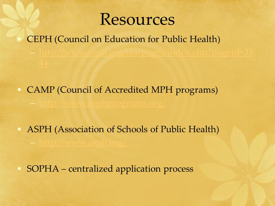 Resources CEPH (Council on Education for Public Health) –  pageid=33 44http://  pageid=33 44 CAMP (Council of Accredited MPH programs) –  ASPH (Association of Schools of Public Health) –  SOPHA – centralized application process