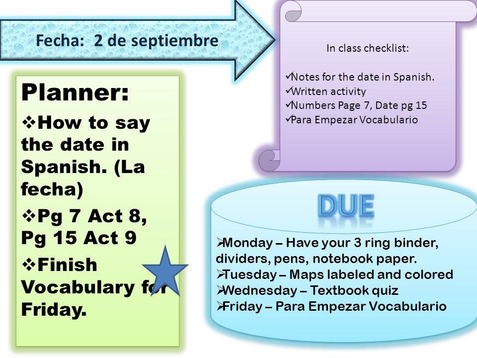 Planner:  21 de septiembre Write a reminder to wear your favorite ...