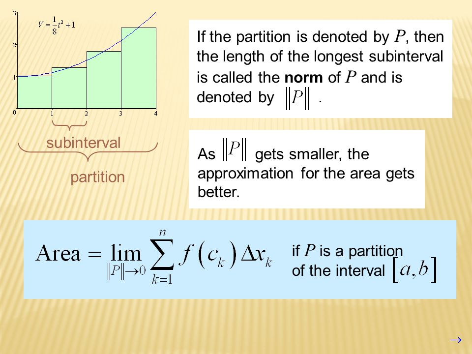 subinterval partition If the partition is denoted by P, then the length of the longest subinterval is called the norm of P and is denoted by.