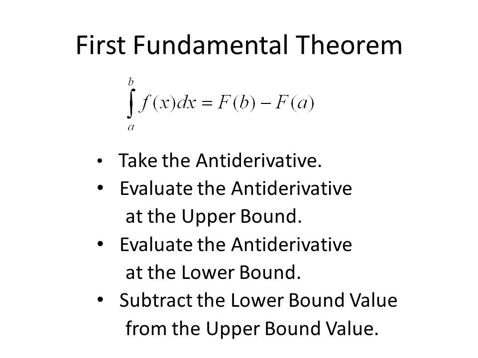 First Fundamental Theorem Take the Antiderivative.