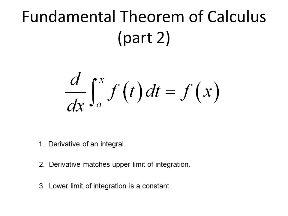 Fundamental Theorem of Calculus (part 2) 1. Derivative of an integral.