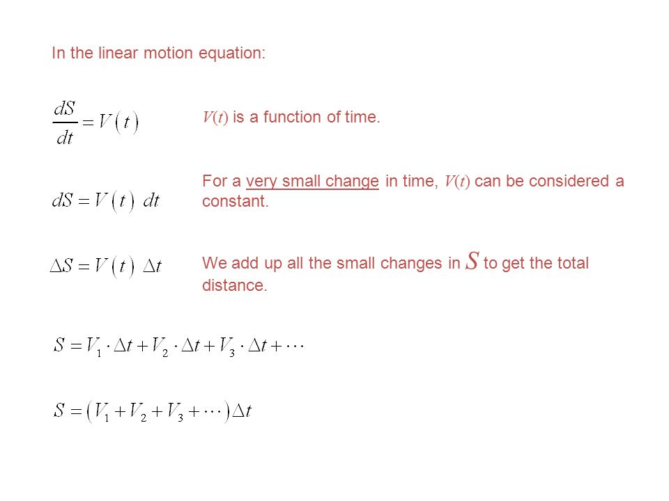 In the linear motion equation: V(t) is a function of time.
