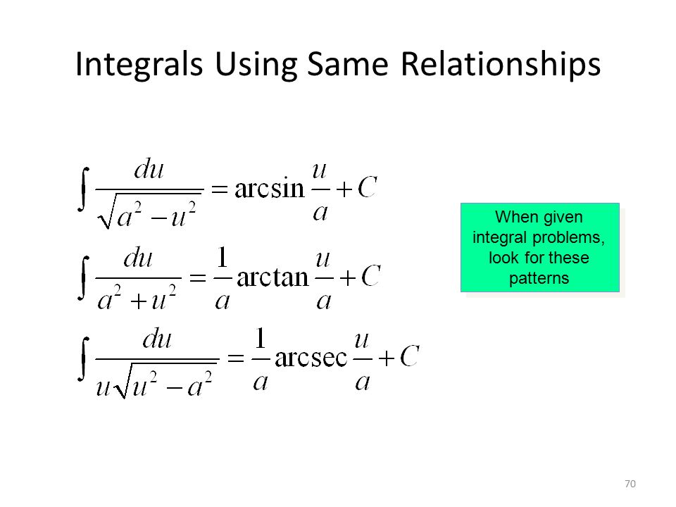 70 Integrals Using Same Relationships When given integral problems, look for these patterns