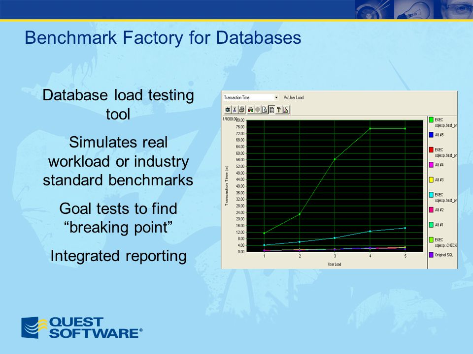 Benchmark Factory for Databases Database load testing tool Simulates real workload or industry standard benchmarks Goal tests to find breaking point Integrated reporting