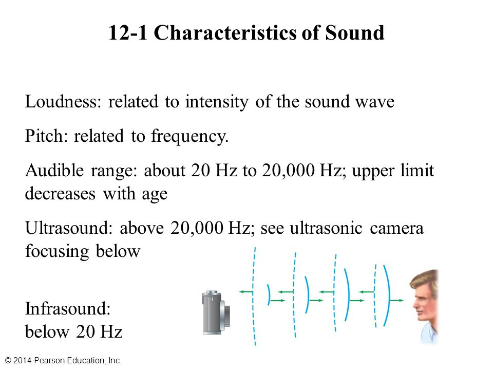 Loudness: related to intensity of the sound wave Pitch: related to frequency.