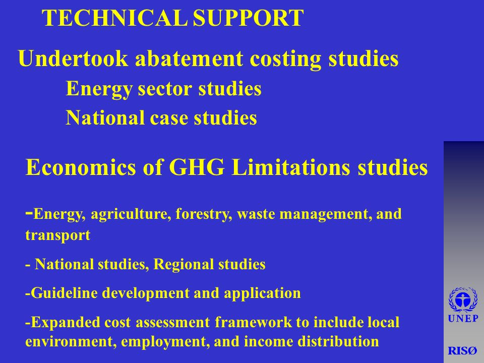 TECHNICAL SUPPORT Undertook abatement costing studies Energy sector studies National case studies Economics of GHG Limitations studies - Energy, agriculture, forestry, waste management, and transport - National studies, Regional studies -Guideline development and application -Expanded cost assessment framework to include local environment, employment, and income distribution