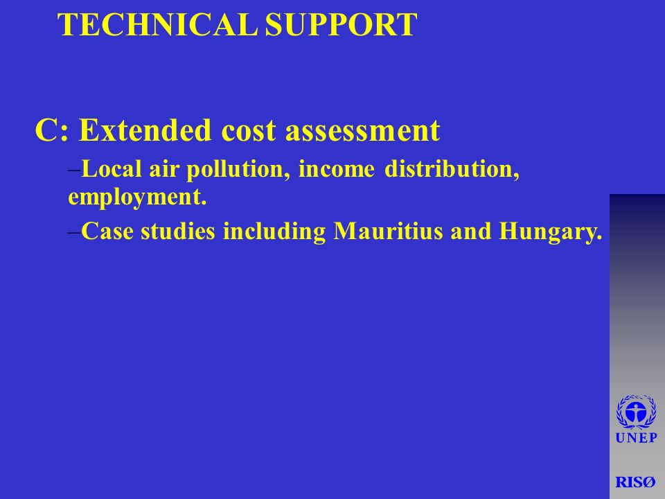 TECHNICAL SUPPORT C: Extended cost assessment –Local air pollution, income distribution, employment.