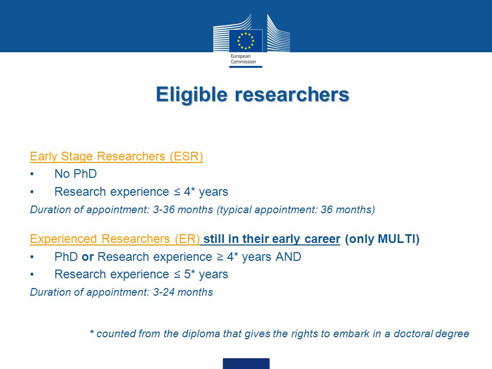Early Stage Researchers (ESR) No PhD Research experience ≤ 4* years Duration of appointment: 3-36 months (typical appointment: 36 months) Experienced Researchers (ER) still in their early career (only MULTI) PhD or Research experience ≥ 4* years AND Research experience ≤ 5* years Duration of appointment: 3-24 months Eligible researchers * counted from the diploma that gives the rights to embark in a doctoral degree