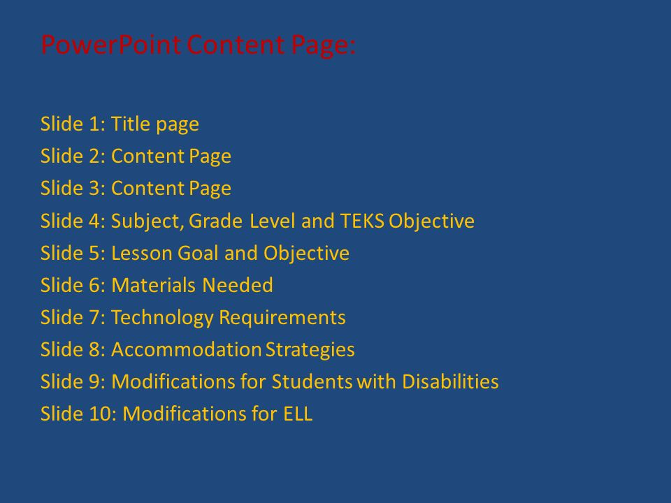 Powerpoint Content Page Slide 1 Title Page Slide 2