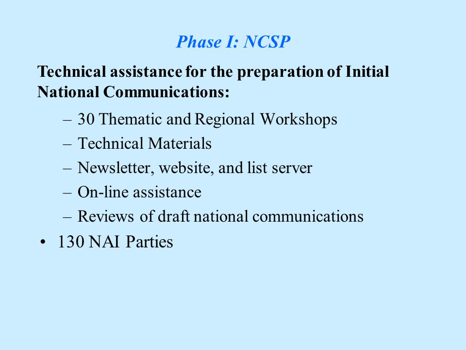 Overview Phase I: GEF-NCSP, Phase II: GEF-UNDP Projects, Phase III: NCSU,