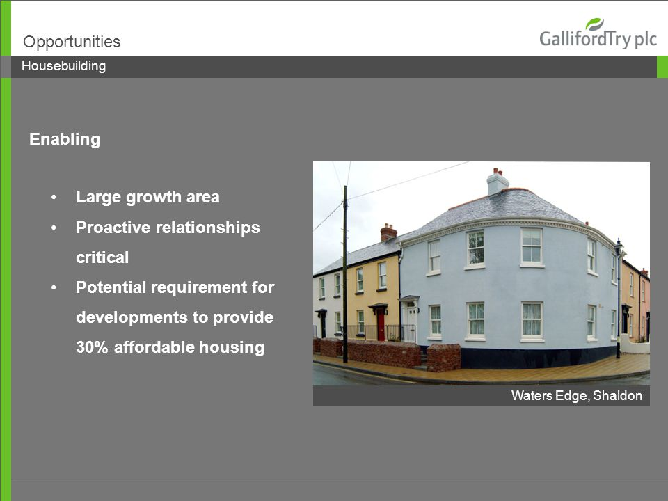 Large growth area Proactive relationships critical Potential requirement for developments to provide 30% affordable housing Housebuilding Opportunities Enabling Waters Edge, Shaldon