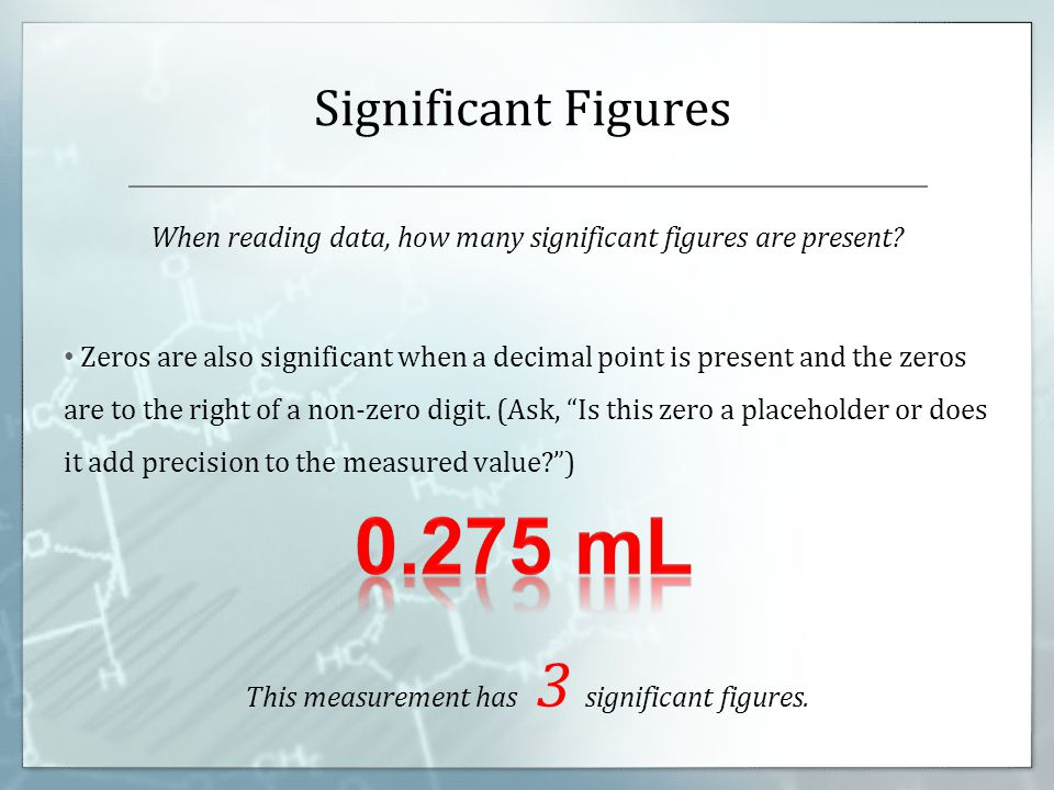 When reading data, how many significant figures are present.
