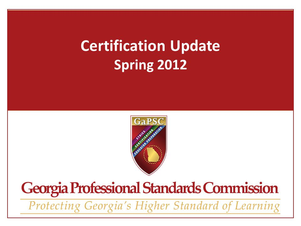 Certification Update Spring What is Certification up to now ...