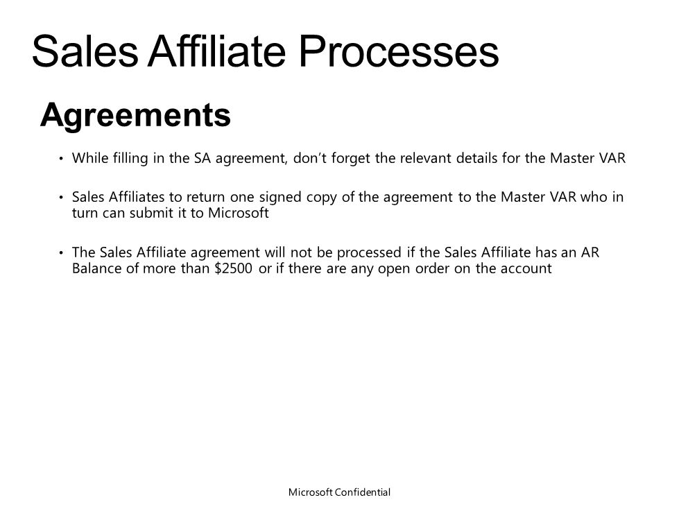 Overview Of The Master Var Sales Affiliate Process Partner