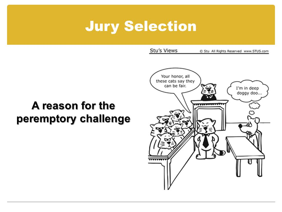 Jury Selection A reason for the peremptory challenge