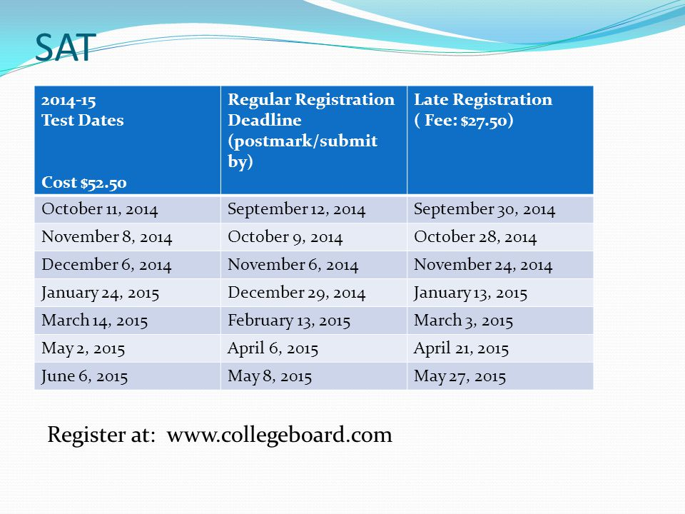 SAT Test Dates Cost $52.50 Regular Registration Deadline (postmark/submit by) Late Registration ( Fee: $27.50) October 11, 2014September 12, 2014September 30, 2014 November 8, 2014October 9, 2014October 28, 2014 December 6, 2014November 6, 2014November 24, 2014 January 24, 2015December 29, 2014January 13, 2015 March 14, 2015February 13, 2015March 3, 2015 May 2, 2015April 6, 2015April 21, 2015 June 6, 2015May 8, 2015May 27, 2015 Register at: