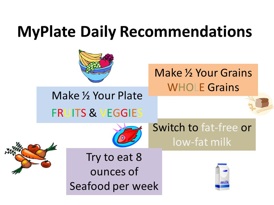 MyPlate Daily Recommendations Switch to fat-free or low-fat milk Try to eat 8 ounces of Seafood per week Make ½ Your Plate FRUITS & VEGGIES Make ½ Your Grains WHOLE Grains