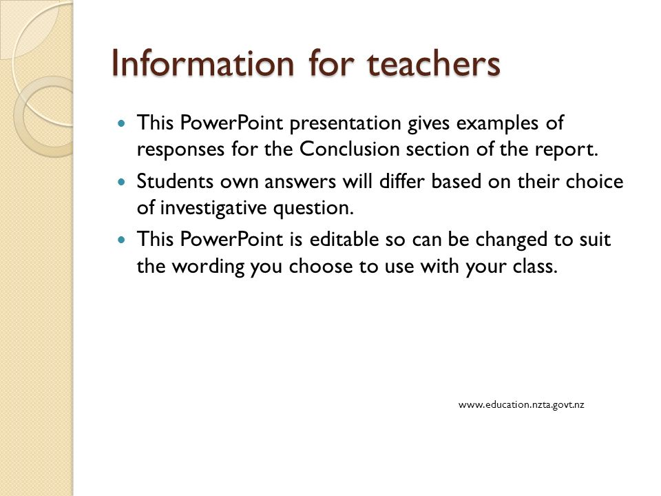 Information For Teachers This Powerpoint Presentation Gives