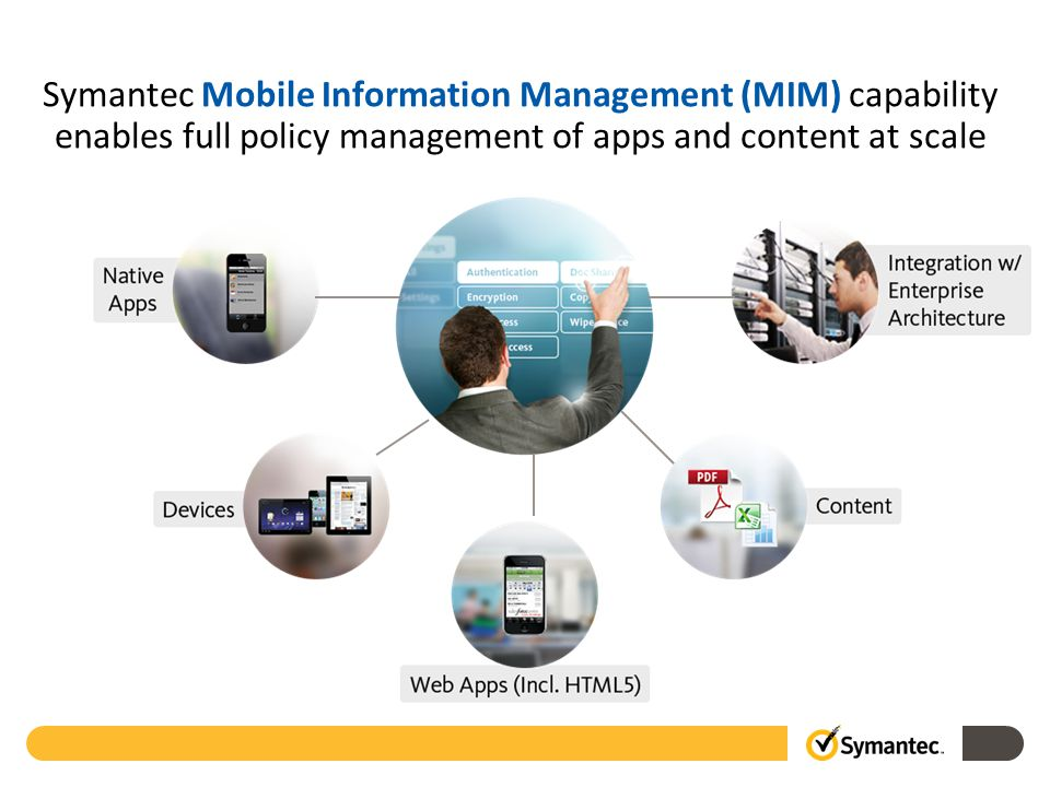 Symantec Mobile Information Management (MIM) capability enables full policy management of apps and content at scale