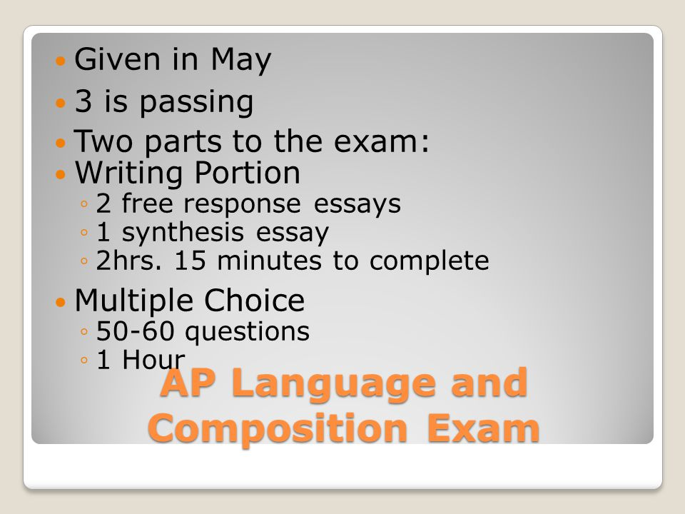 AP Language and Composition Exam Given in May 3 is passing Two parts to the exam: Writing Portion ◦2 free response essays ◦1 synthesis essay ◦2hrs.