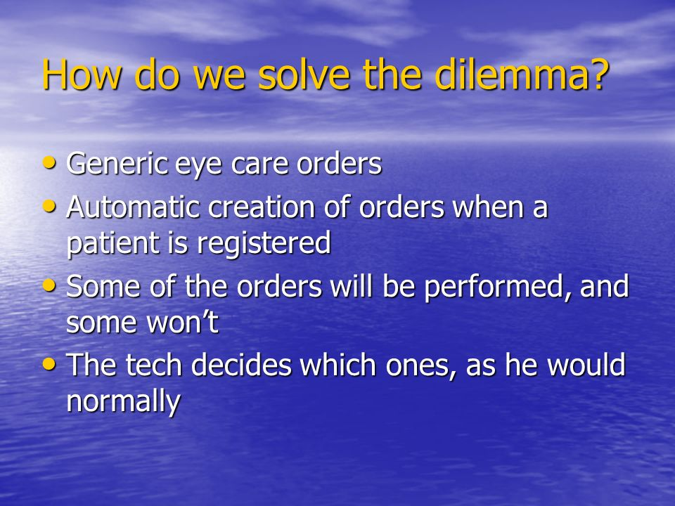 How do we solve the dilemma.