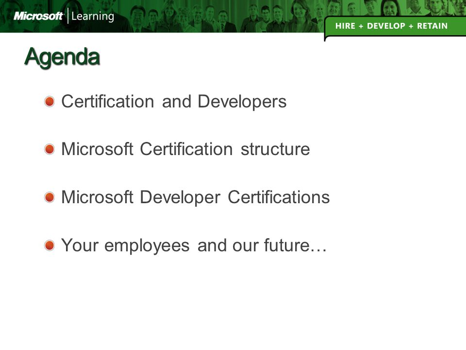 Agenda Certification And Developers Microsoft Certification