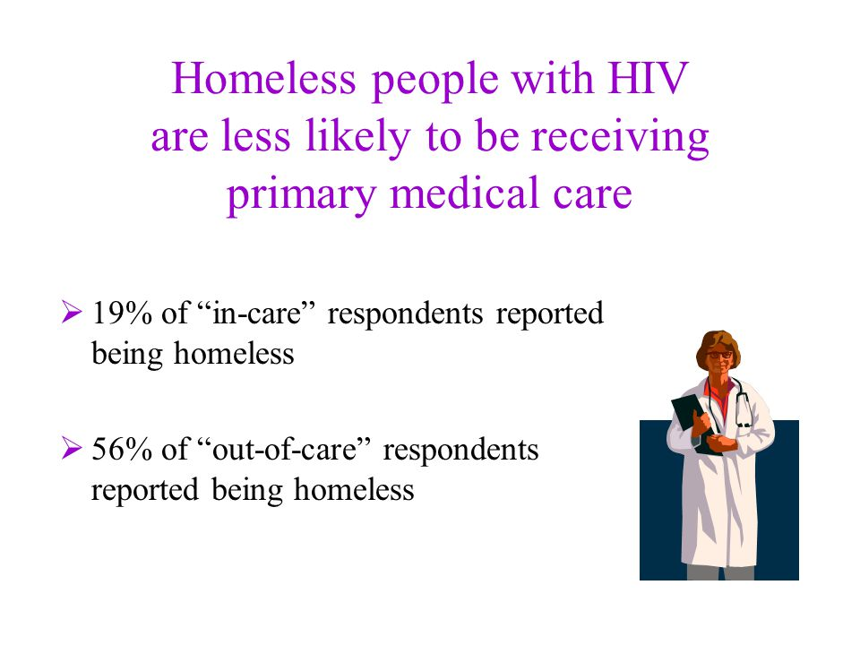 Homeless people with HIV are less likely to be receiving primary medical care  19% of in-care respondents reported being homeless  56% of out-of-care respondents reported being homeless