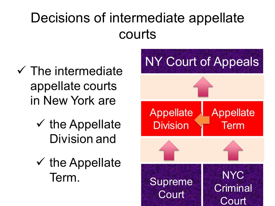 Decisions of intermediate appellate courts The intermediate appellate courts in New York are the Appellate Division and the Appellate Term.