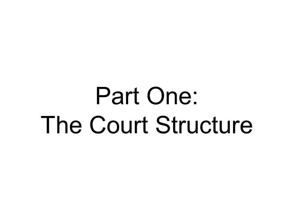 Part One: The Court Structure