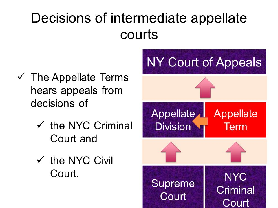 Decisions of intermediate appellate courts The Appellate Terms hears appeals from decisions of the NYC Criminal Court and the NYC Civil Court.