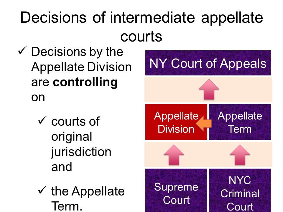 Decisions of intermediate appellate courts Decisions by the Appellate Division are controlling on courts of original jurisdiction and the Appellate Term.