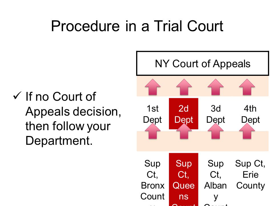 Procedure in a Trial Court If no Court of Appeals decision, then follow your Department.