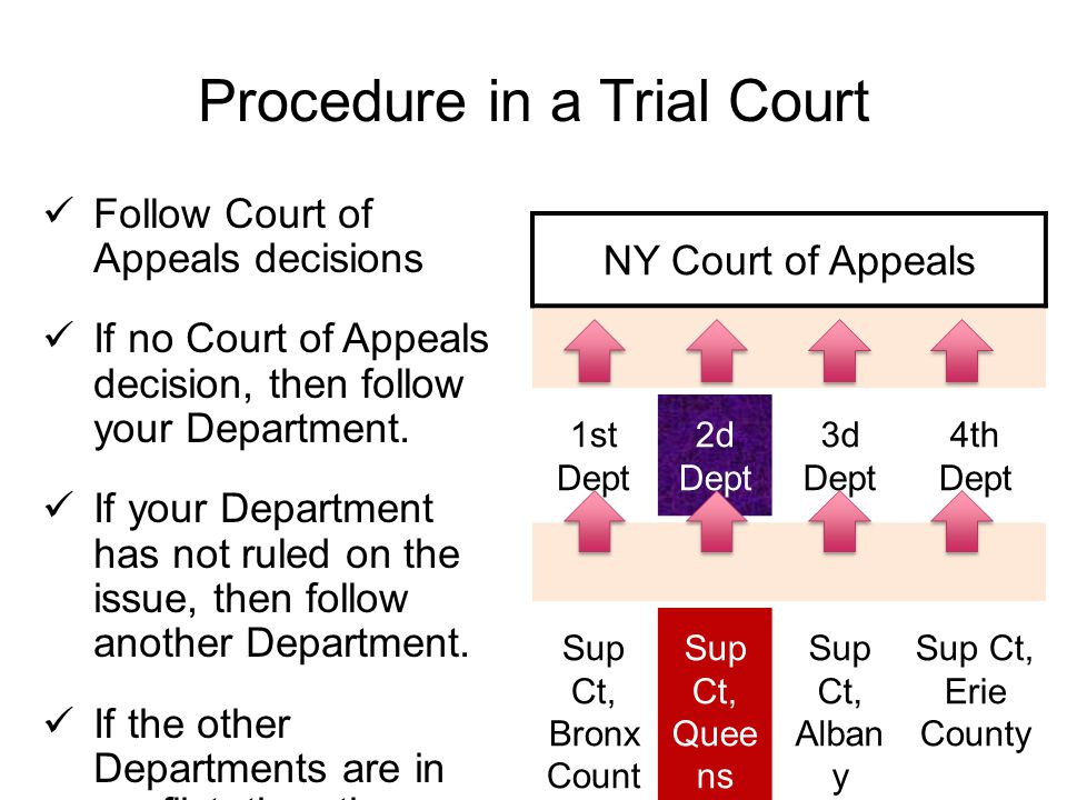 Procedure in a Trial Court Follow Court of Appeals decisions If no Court of Appeals decision, then follow your Department.