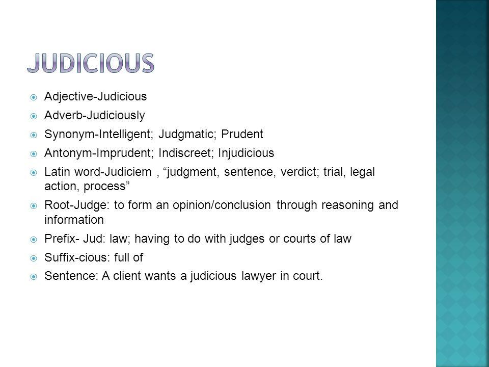 Judicious In A Sentence