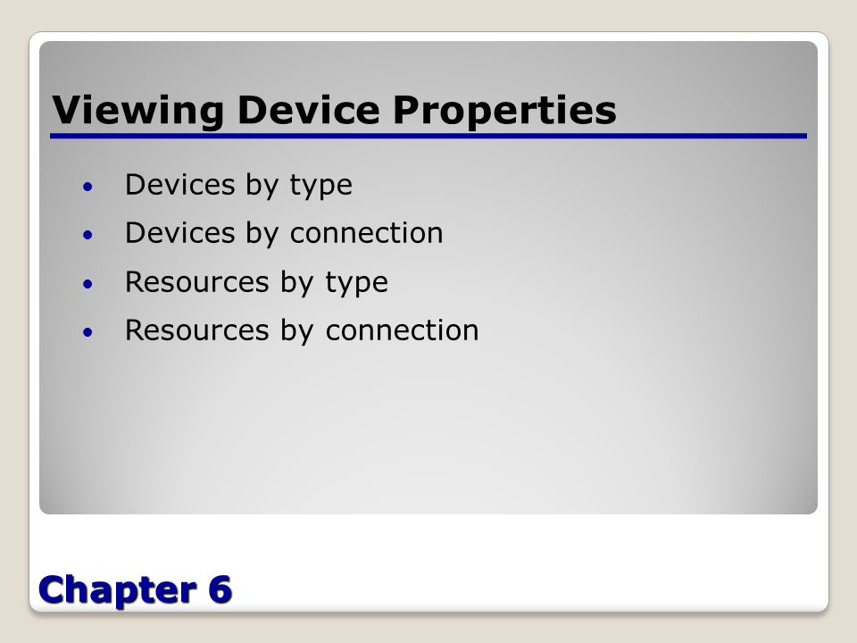 Chapter 6 Viewing Device Properties Devices by type Devices by connection Resources by type Resources by connection