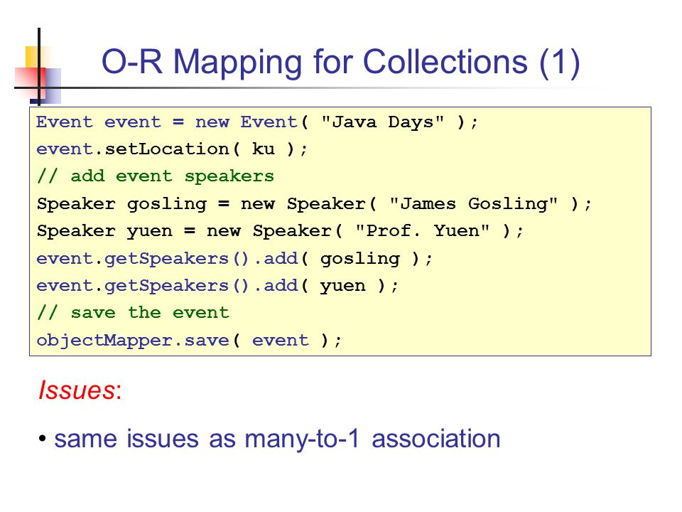 Object Persistence and Object-Relational Mapping James