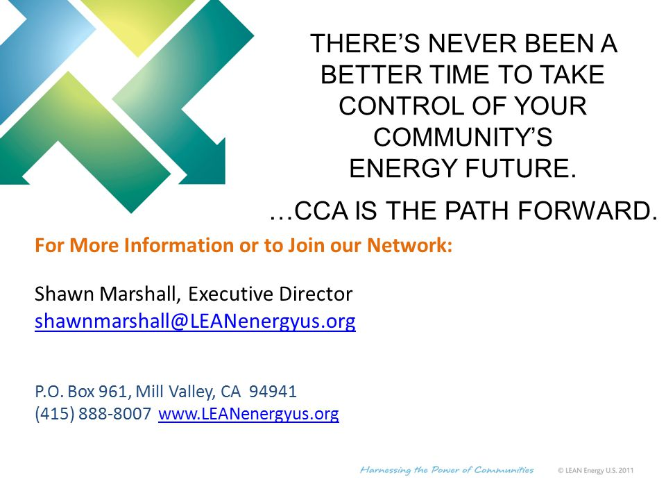 For More Information or to Join our Network: Shawn Marshall, Executive Director P.O.