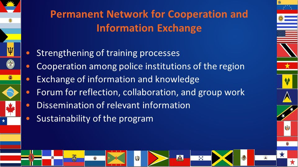Permanent Network for Cooperation and Information Exchange Strengthening of training processes Cooperation among police institutions of the region Exchange of information and knowledge Forum for reflection, collaboration, and group work Dissemination of relevant information Sustainability of the program