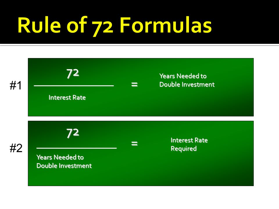 The rule of 72 has two functions: 1.