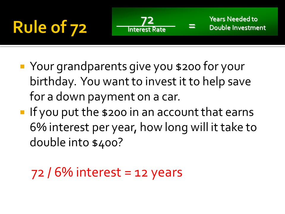 72 Interest Rate = Years Needed to Double Investment 72 Interest Rate Required = Years Needed to Double Investment #1 #2
