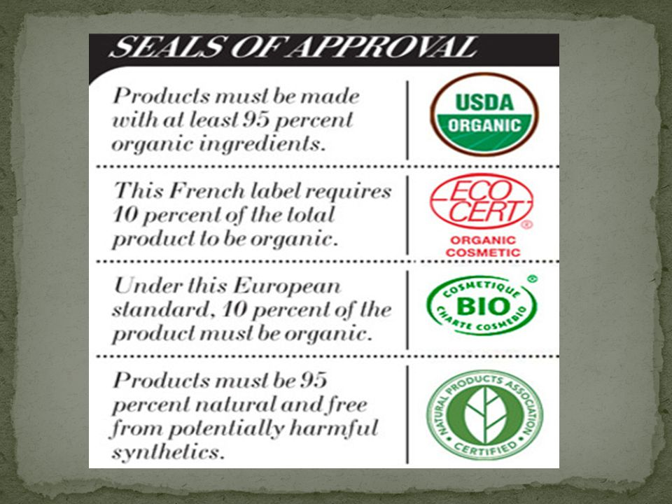 "By Laura Manhart  Many ""organic"" cosmetics contain: Parabens"