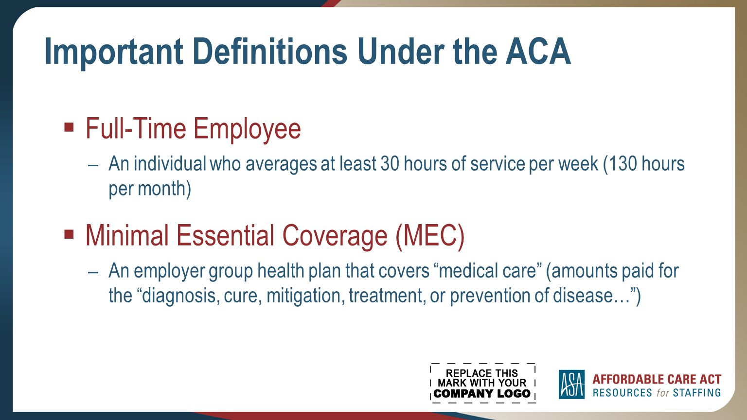 working with a staffing company under the affordable care act what