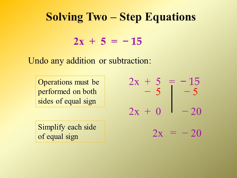 Solving Two – Step Equations Determine the mathematical operations being performed on the variable.