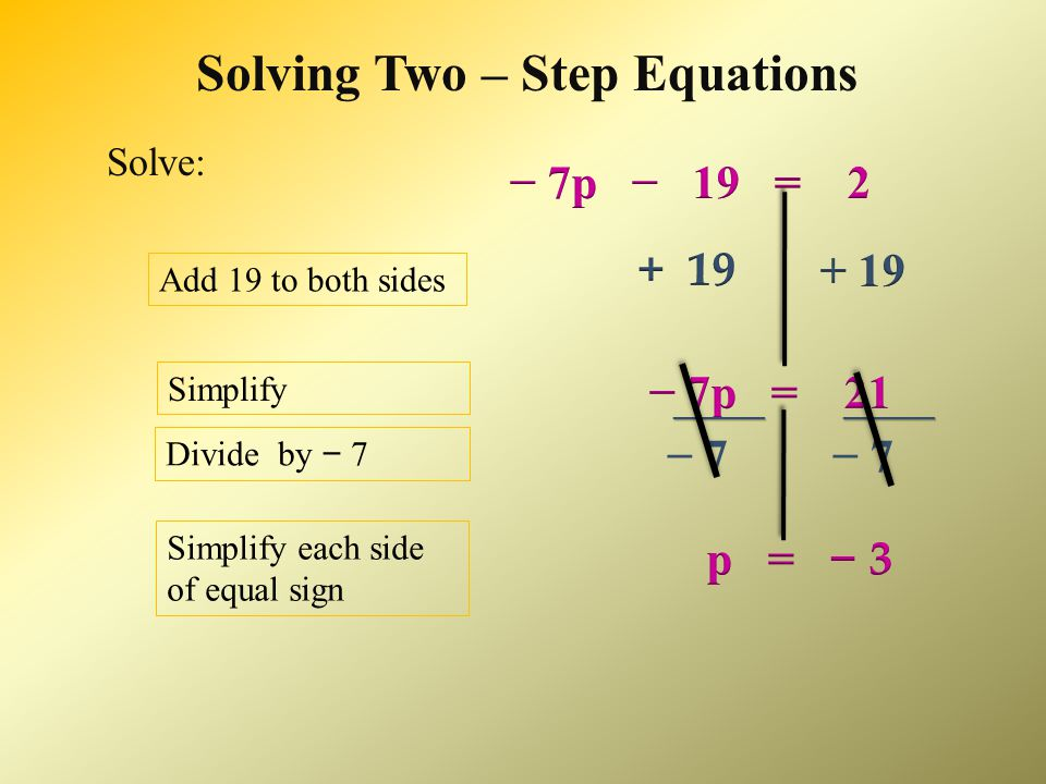 Solving Two – Step Equations − 8 = − 10 Add 8 to both sides Simplify each side of equal sign = − Multiply by Simplify each side of equal sign x = − 8 x = − 8 Solve: 4x 4x