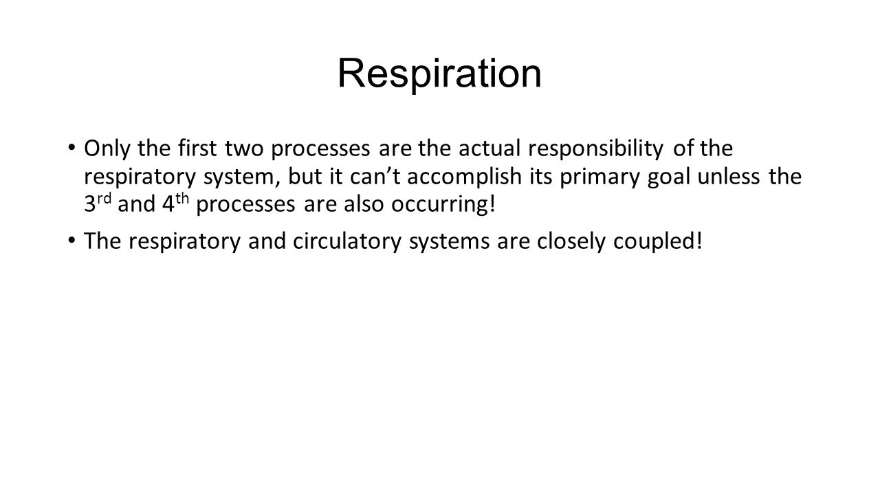 Respiration Only the first two processes are the actual responsibility of the respiratory system, but it can't accomplish its primary goal unless the 3 rd and 4 th processes are also occurring.