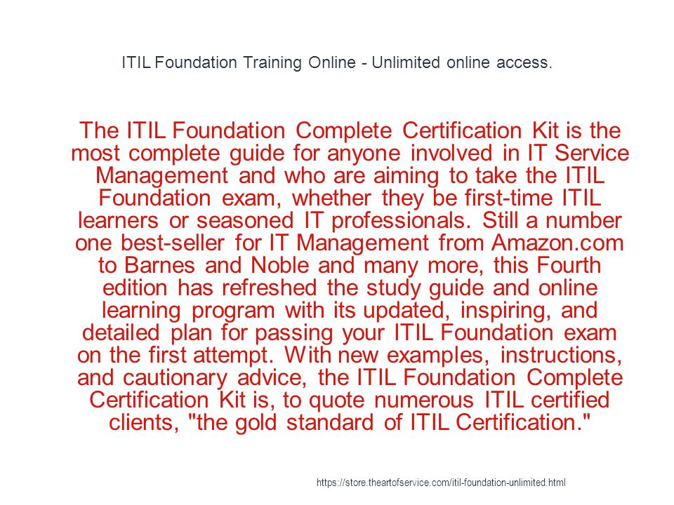 Itil Foundation Training Online Unlimited Online Access 1 The