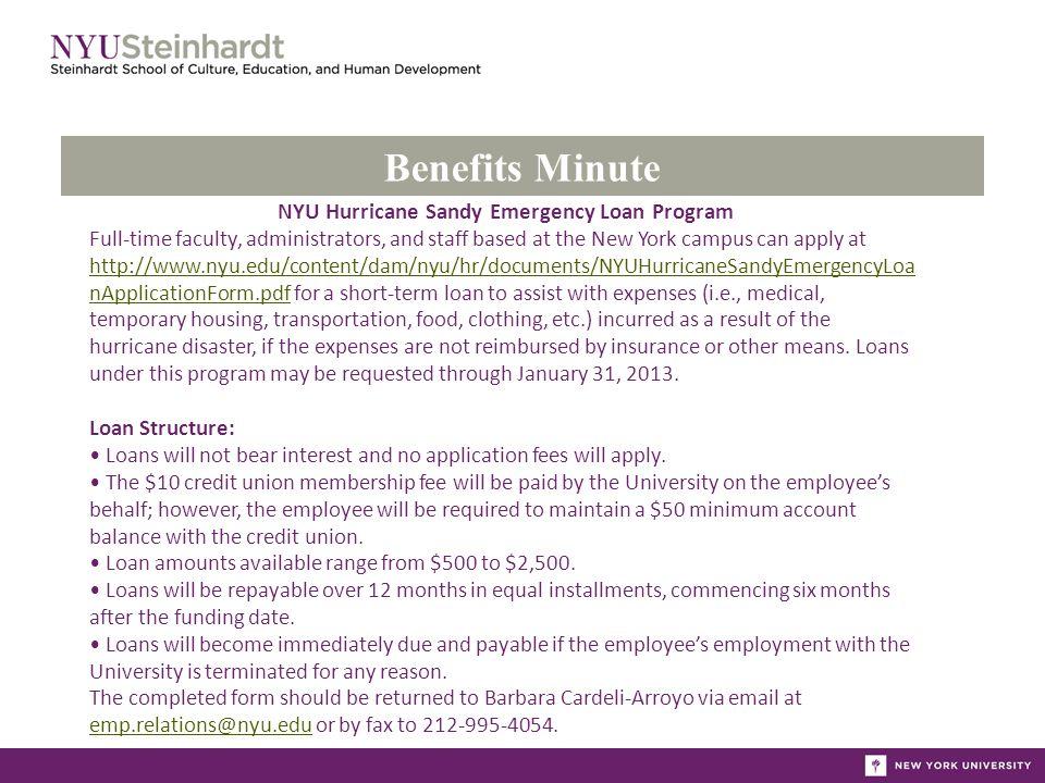 Benefits Minute Hurricane Sandy Relief through NYU Federal
