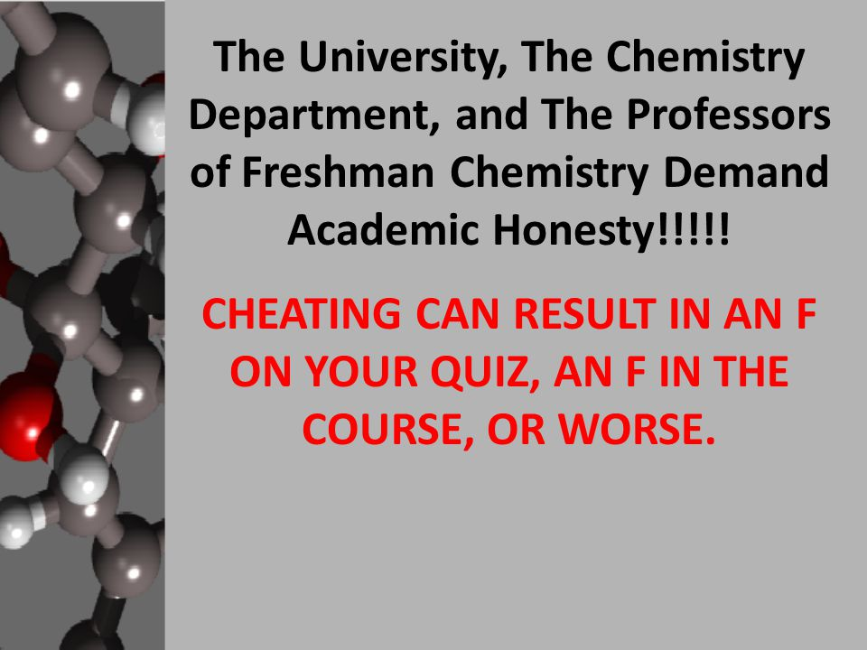 The University, The Chemistry Department, and The Professors of Freshman Chemistry Demand Academic Honesty!!!!.
