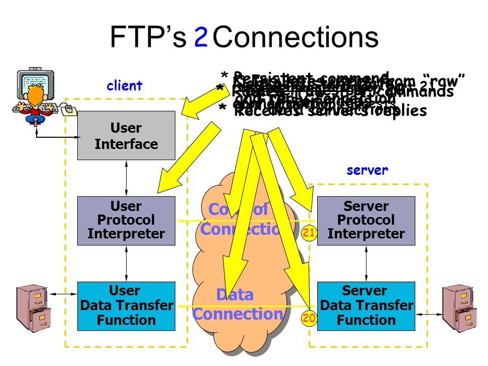 FTP's Connections User Interface User Data Transfer Function User Protocol Interpreter Server Protocol Interpreter Server Data Transfer Function client server Control Connection Data Connection * Insulates users from raw FTP commands Server is listening on port 21 for connection requests 2 * Routes raw FTP commands * Receives server's replies * Persistent command and reply connection Non-persistent data connection *Server uses port 20 for data connections