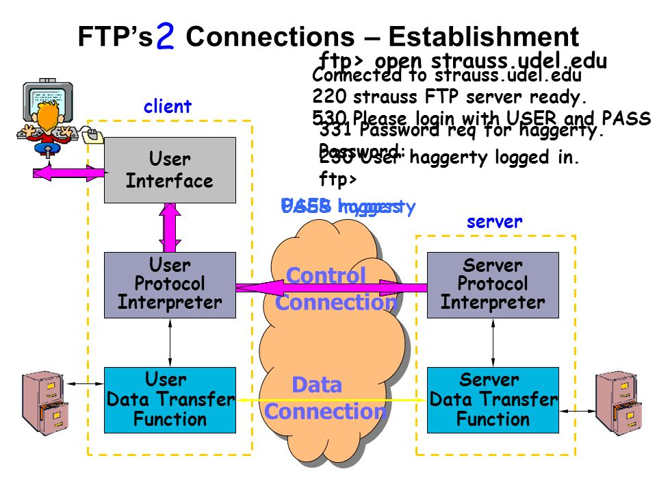 FTP's Connections – Establishment User Interface User Data Transfer Function User Protocol Interpreter Server Protocol Interpreter Server Data Transfer Function client server Control Connection Data Connection 2 ftp> open strauss.udel.edu Connected to strauss.udel.edu 220 strauss FTP server ready.